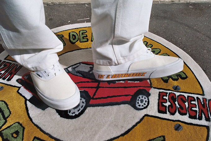 """L'ART DE L'AUTOMOBILE collaboration with VANS is laden with delightful details, such as """"GAS"""" and """"BRAKE"""" printed on the bottom of the shoes, and a tag which reads """"LA-777-RT"""", alluding to a French number plate. Image  Via"""