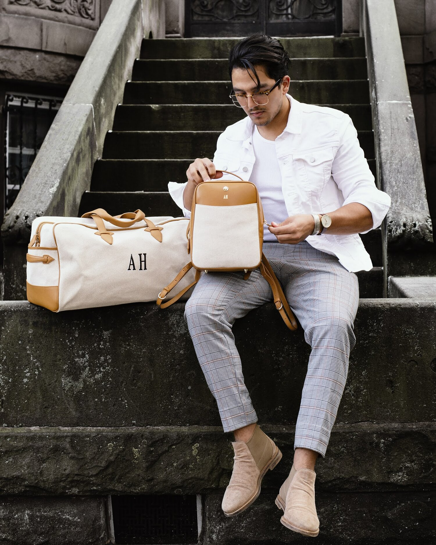 Paravel Scooter backpack and monogrammed duffel. Image  Via