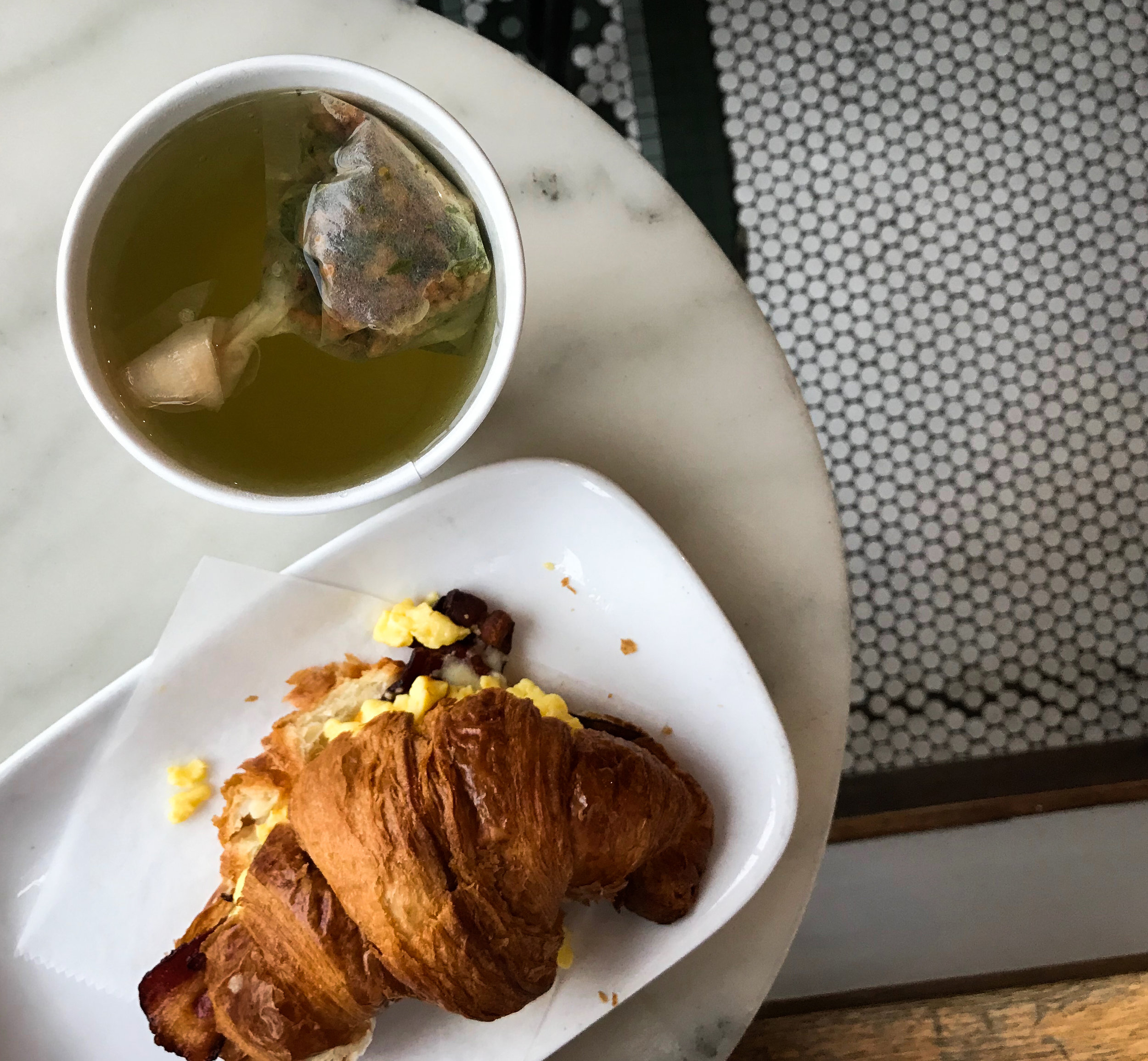 The 5 main food groups, as far as I'm concerned: genmaicha green tea, croissants, cheese, and eggs. Not pictured: dumplings. Also not pictured: NPR and podcasts on the importance of slowing down.