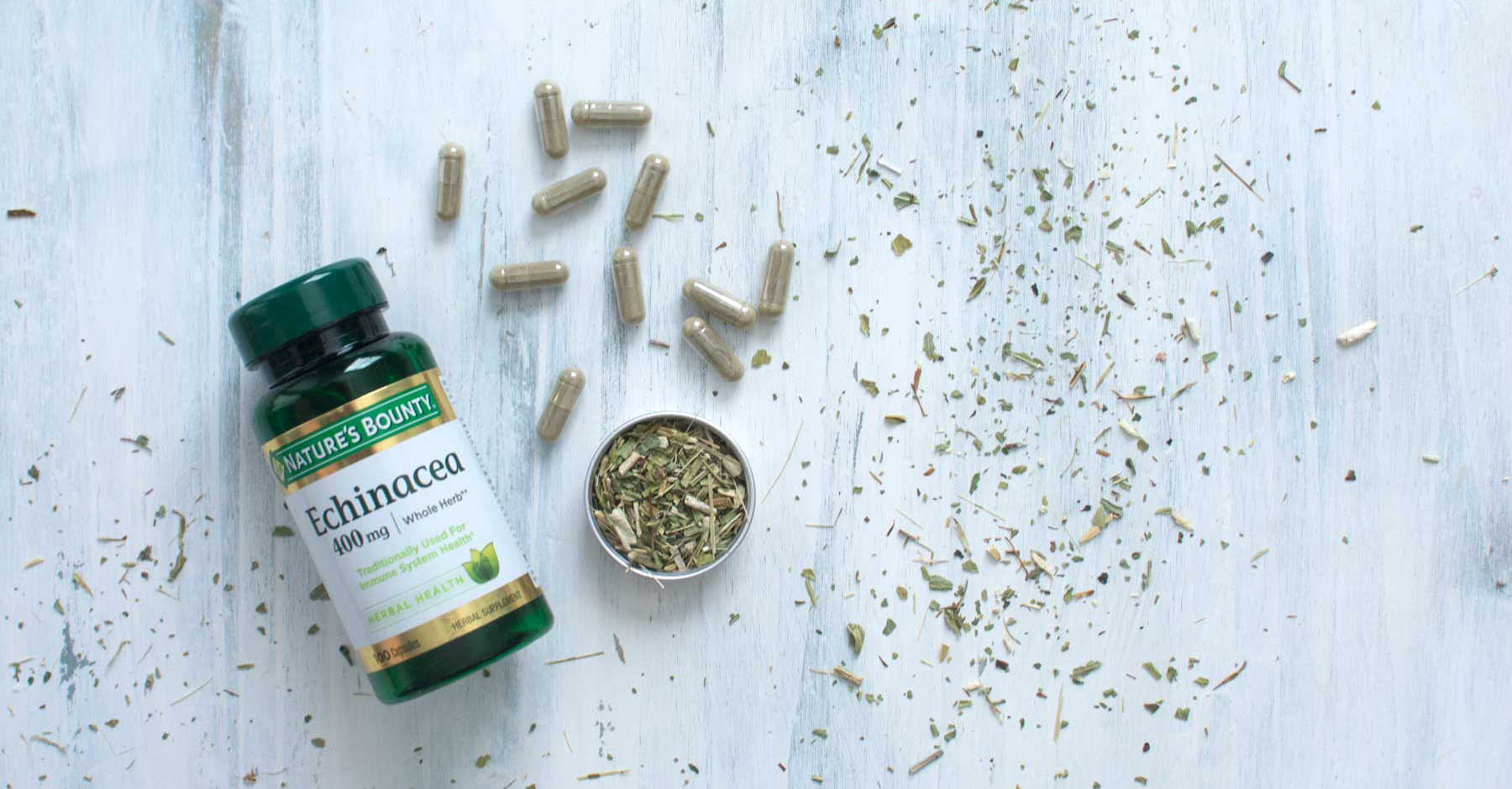 Echinacea capsules are easy, quick, and portable. We also like to have CBD capsules and Vitamin C tablets on hand.