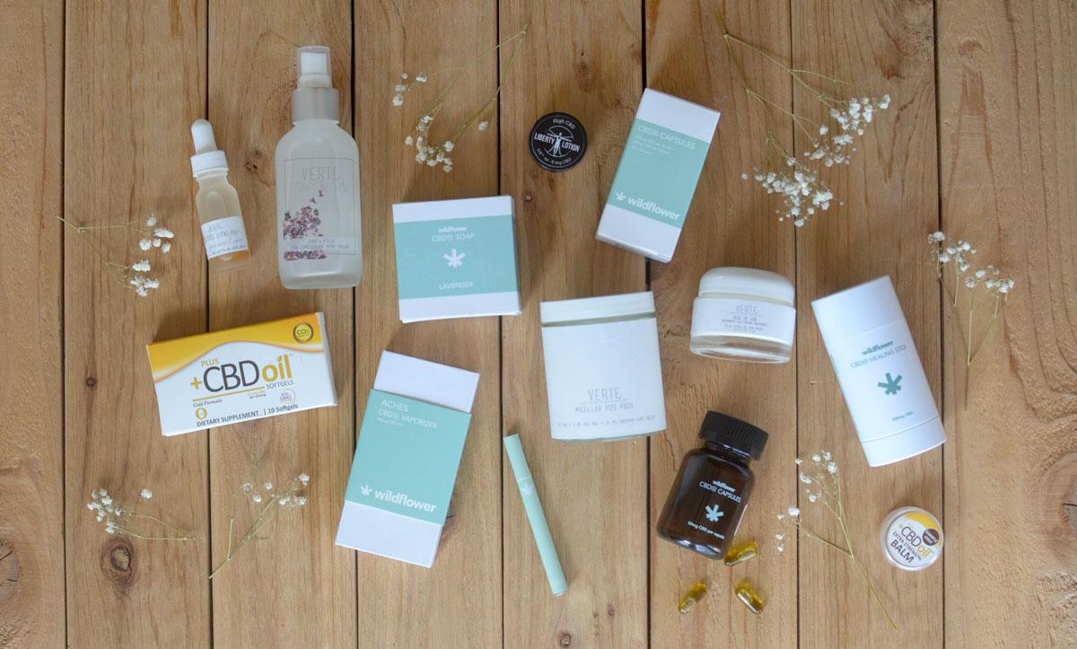 Pictured:  Wildflower,   Verte Essentials,   PlusCBD Oil