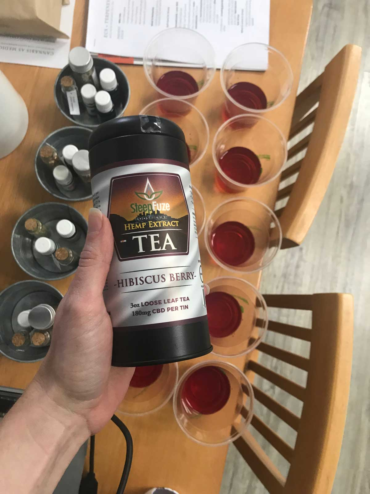 Guests got to sample  Steepfuze's  Hibiscus Berry CBD-infused tea