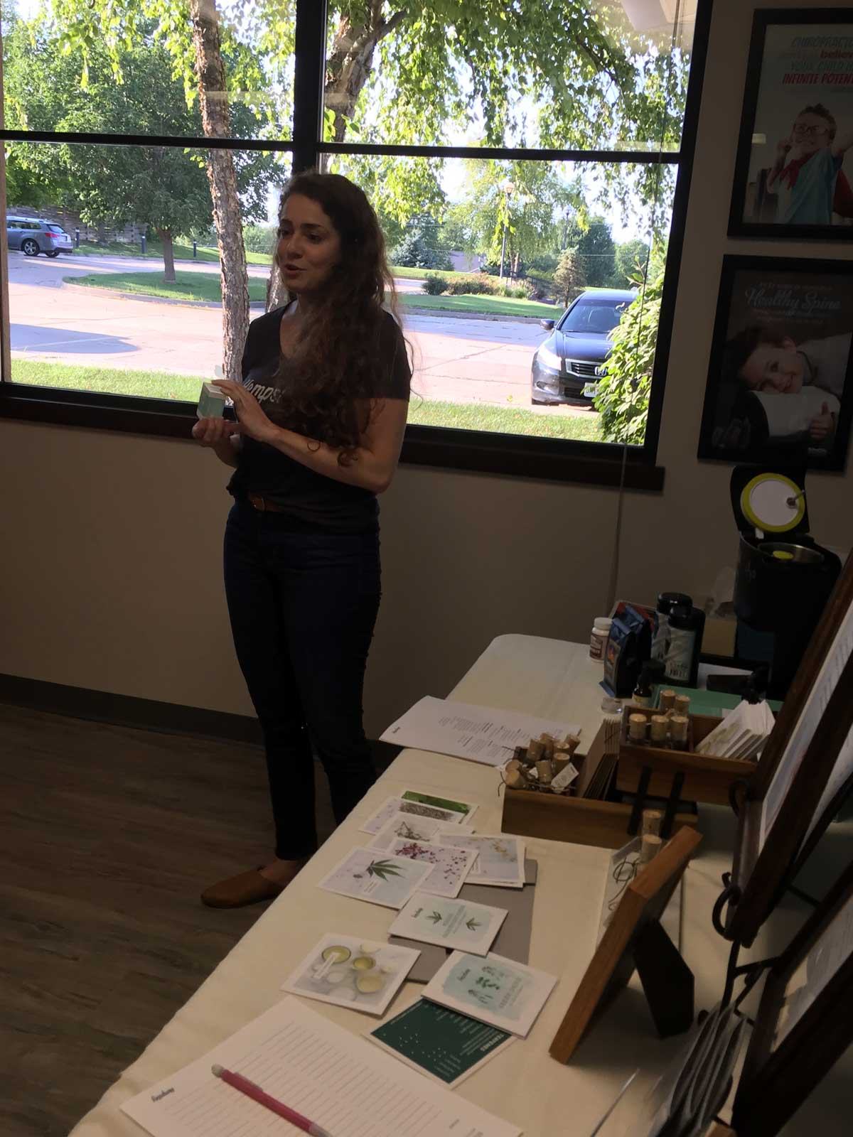Kristen showcased all the  products  we have to offer at Hempsley