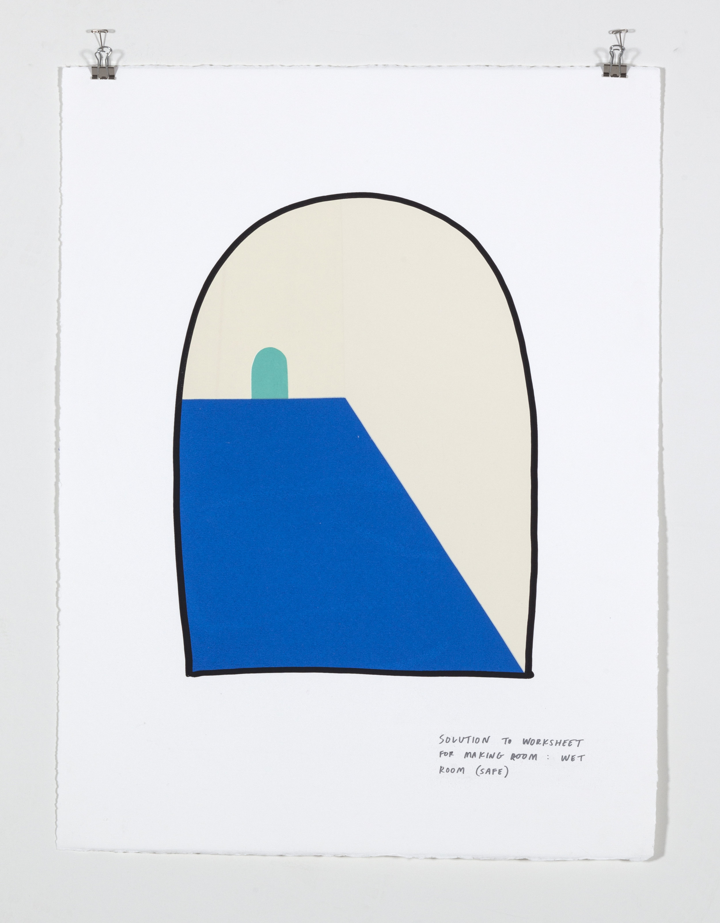 Solution to Worksheet for Making Room: Wet Room (Safe),  2018  Five color silkscreen print on paper 19 7/8 x 25 7/8 inches