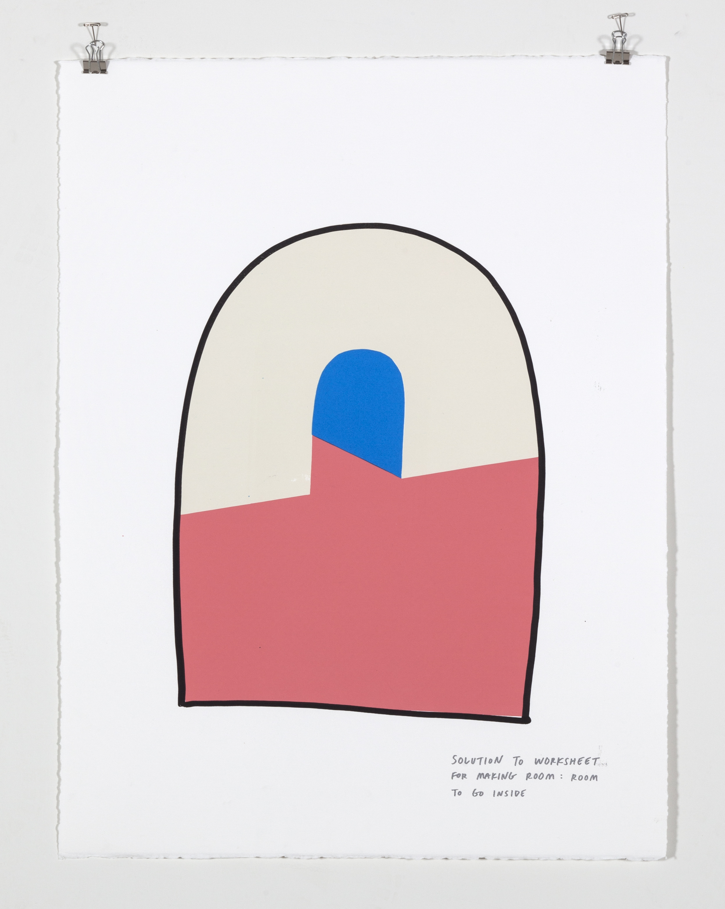 Solution to Worksheet for Making Room: Room to Go Inside,  2018  Five color silkscreen print on paper 19 7/8 x 25 7/8 inches