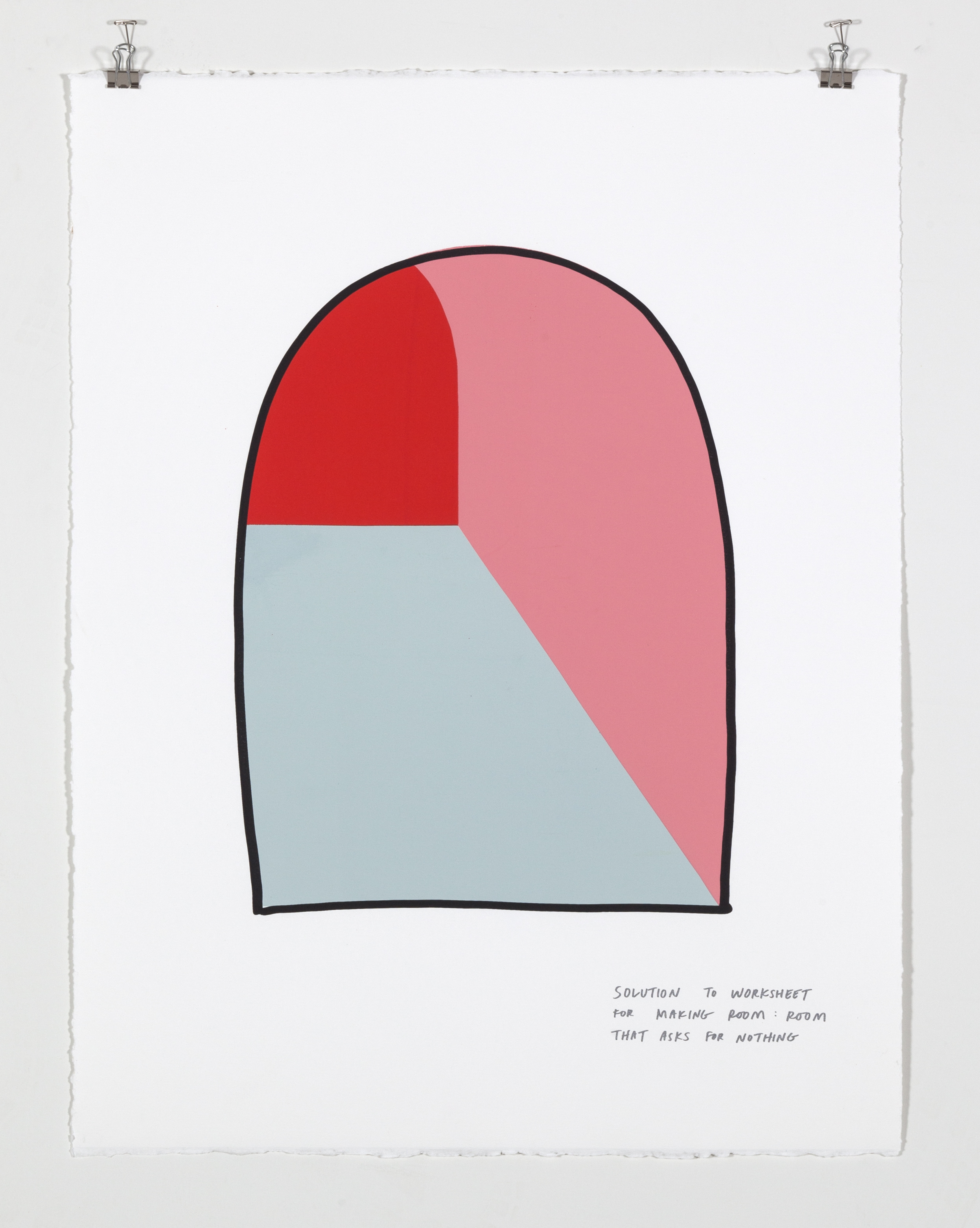 Solution to Worksheet for Making Room: Room That Asks for Nothing,  2018  Five color silkscreen print on paper 19 7/8 x 25 7/8 inches
