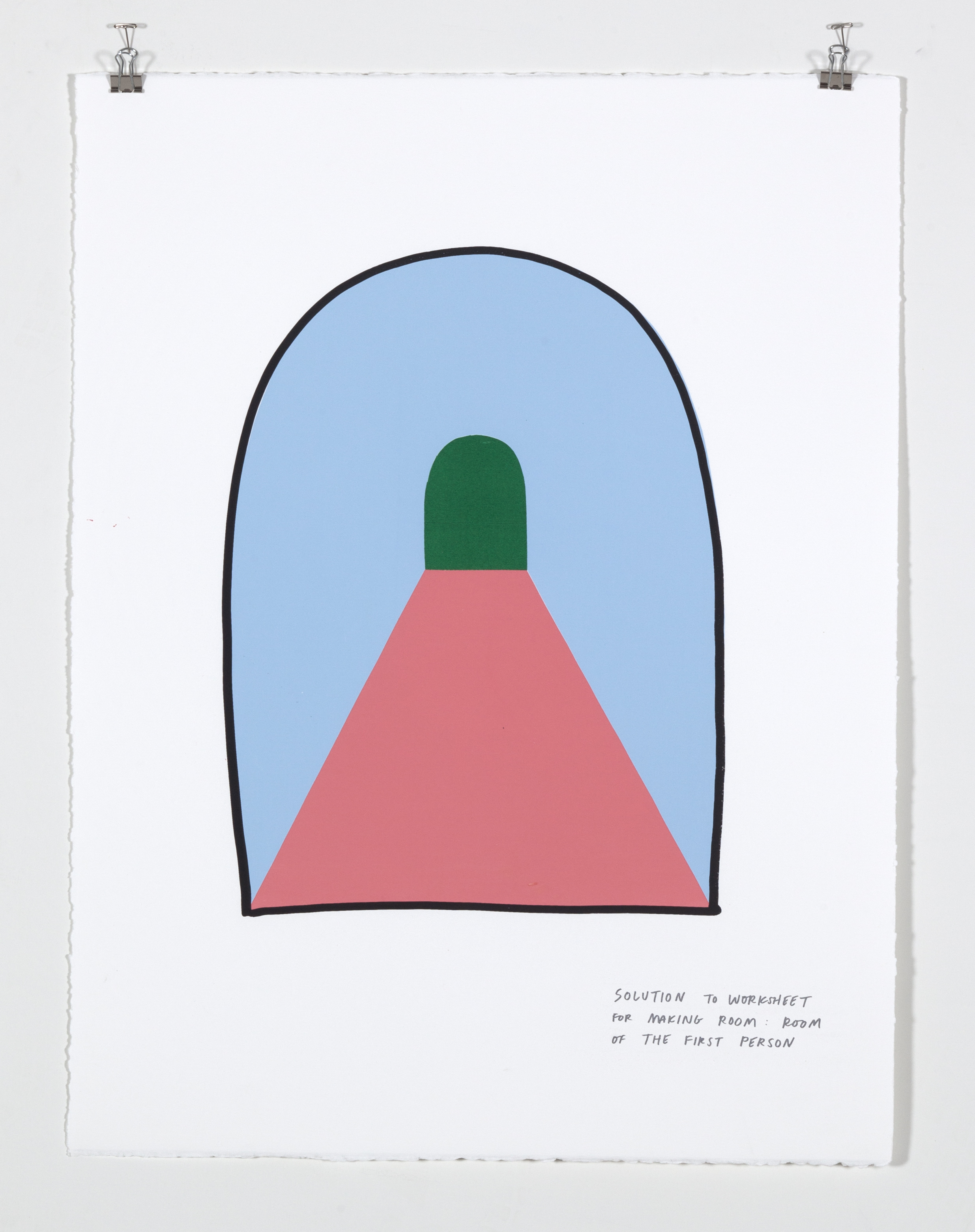 Solution to Worksheet for Making Room: Room of the First Person,  2018  Five color silkscreen print on paper 19 7/8 x 25 7/8 inches