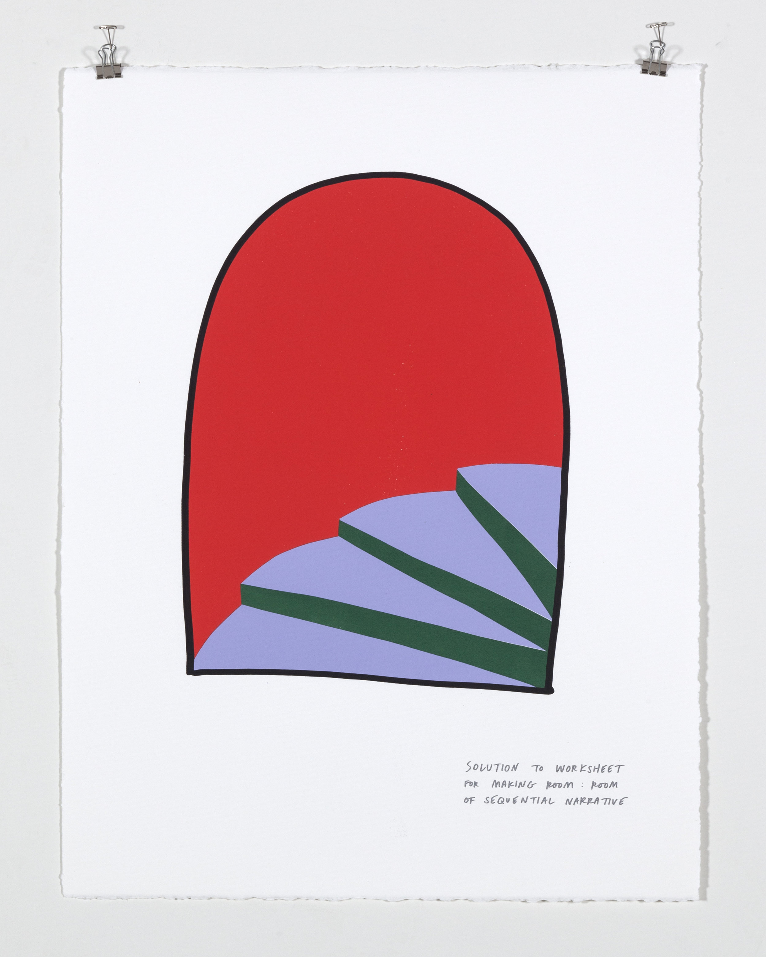 Solution to Worksheet for Making Room: Room of Sequential Narrative,  2018  Five color silkscreen print on paper 19 7/8 x 25 7/8 inches