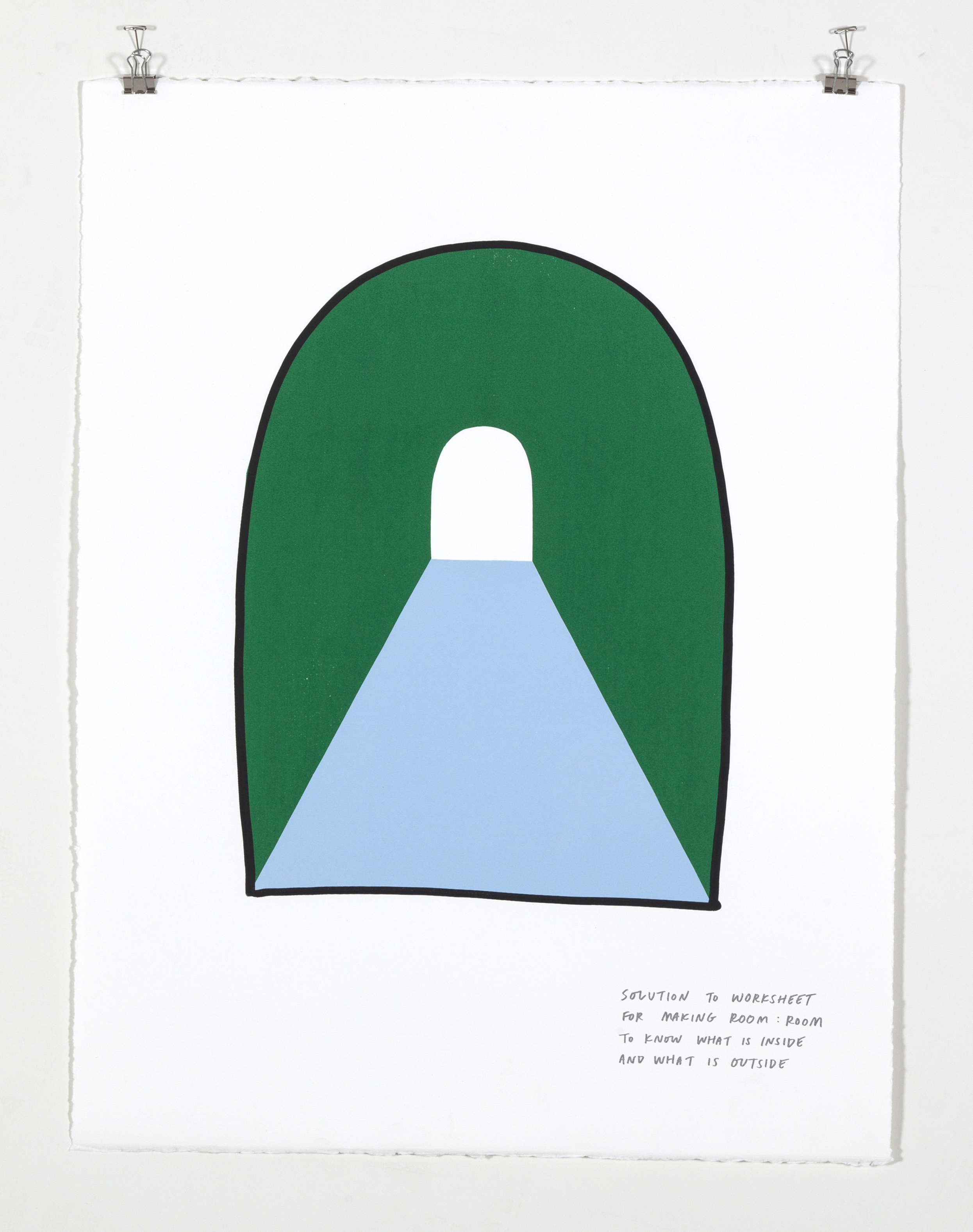 Solution to Worksheet for Making Room: Room to Know What Is Inside and What Is Outside,  2018  Four color silkscreen print on paper 19 7/8 x 25 7/8 inches