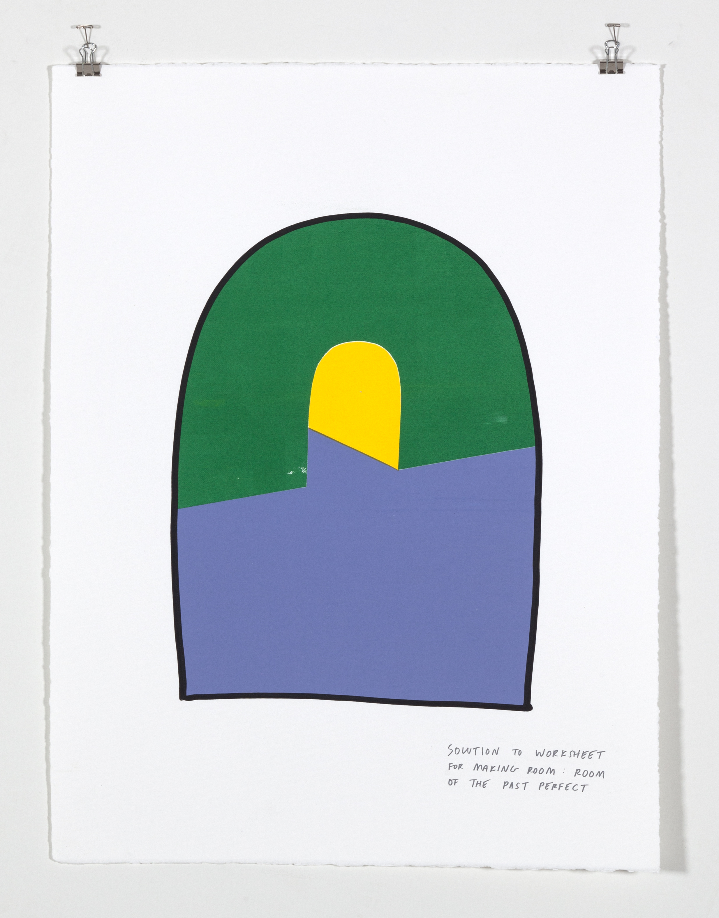 Solution to Worksheet for Making Room: Room of the Past Perfect,  2018  Five color silkscreen print on paper 19 7/8 x 25 7/8 inches