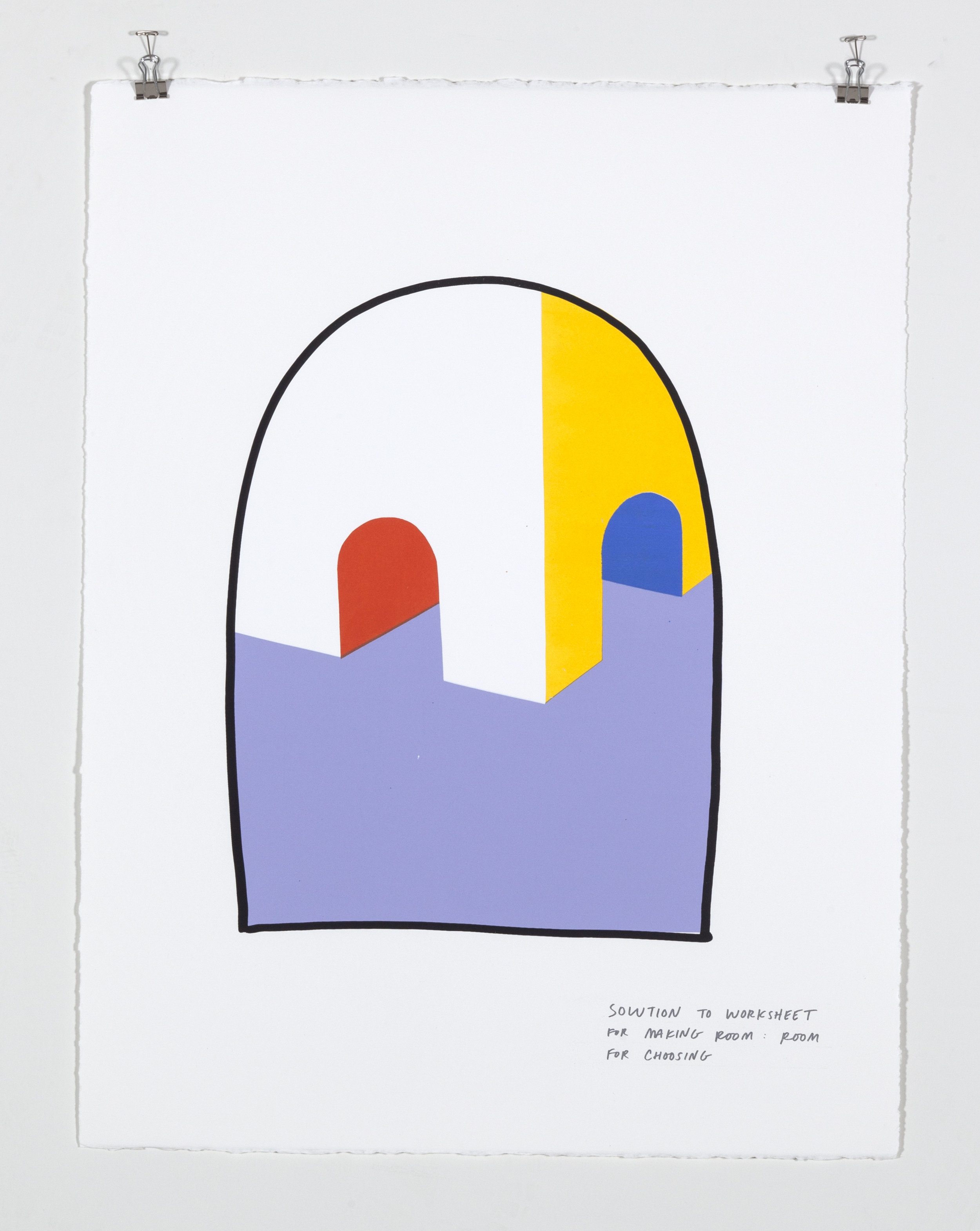 Solution to Worksheet for Making Room: Room for Choosing,  2018  Five color silkscreen print on paper 19 7/8 x 25 7/8 inches