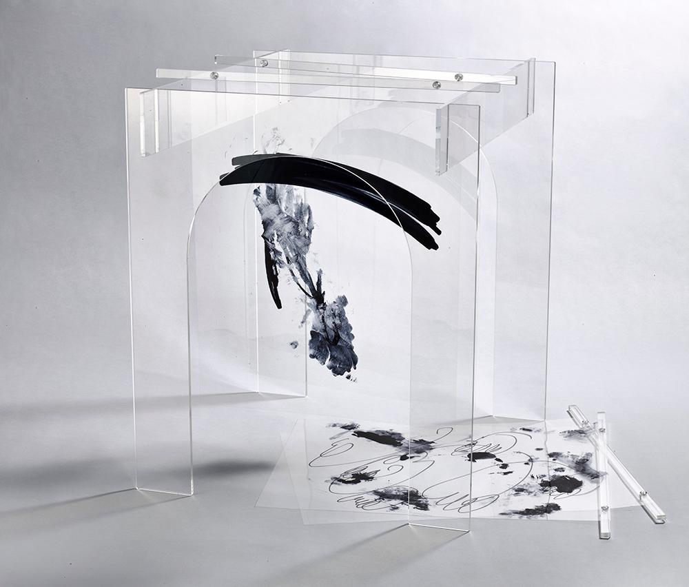 Theatre , 2015  Plexiglass, acrylic hardware, mylar, ink 17 x 20 x 20 inches