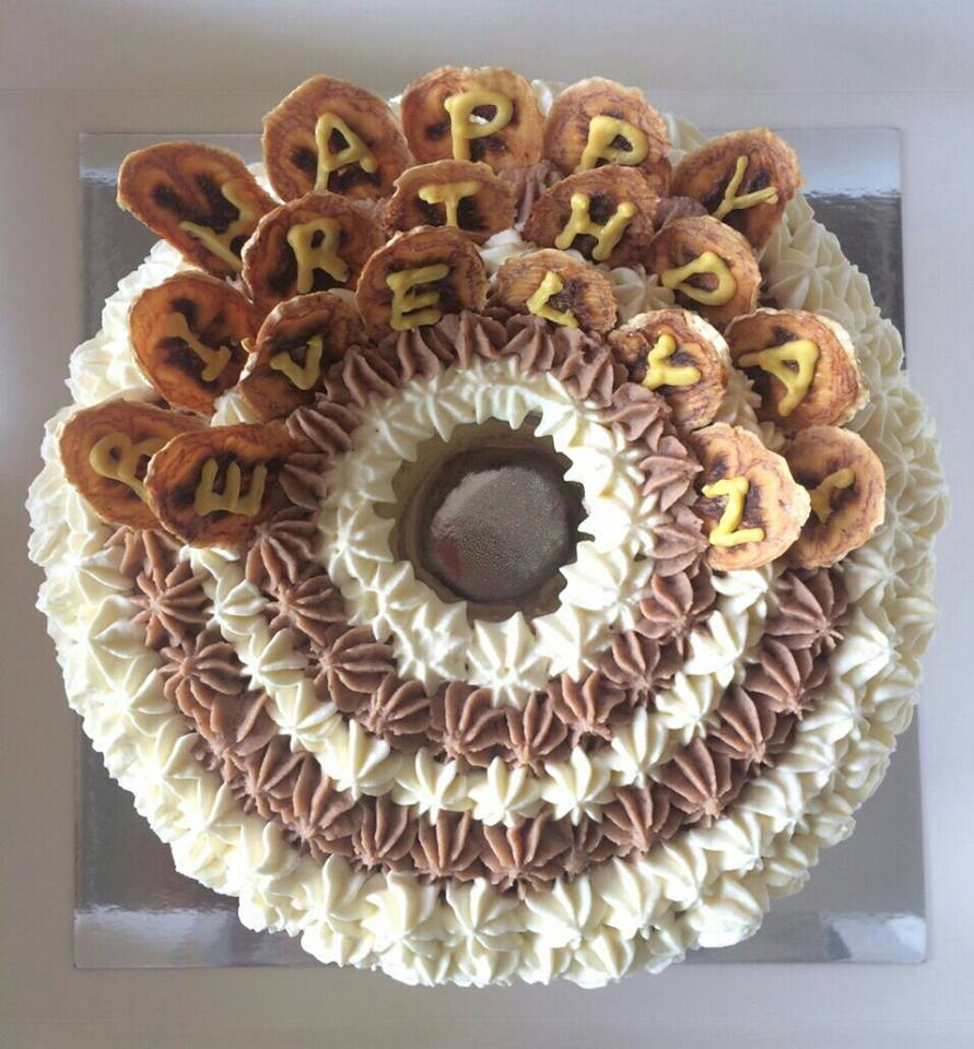 The Chestnut   Vanilla cake with chestnut bits, chestnut cream and banana jam, topped with dried banana crisps  $550  + 10% delivery  (7 in., banana crisps available for personalization)