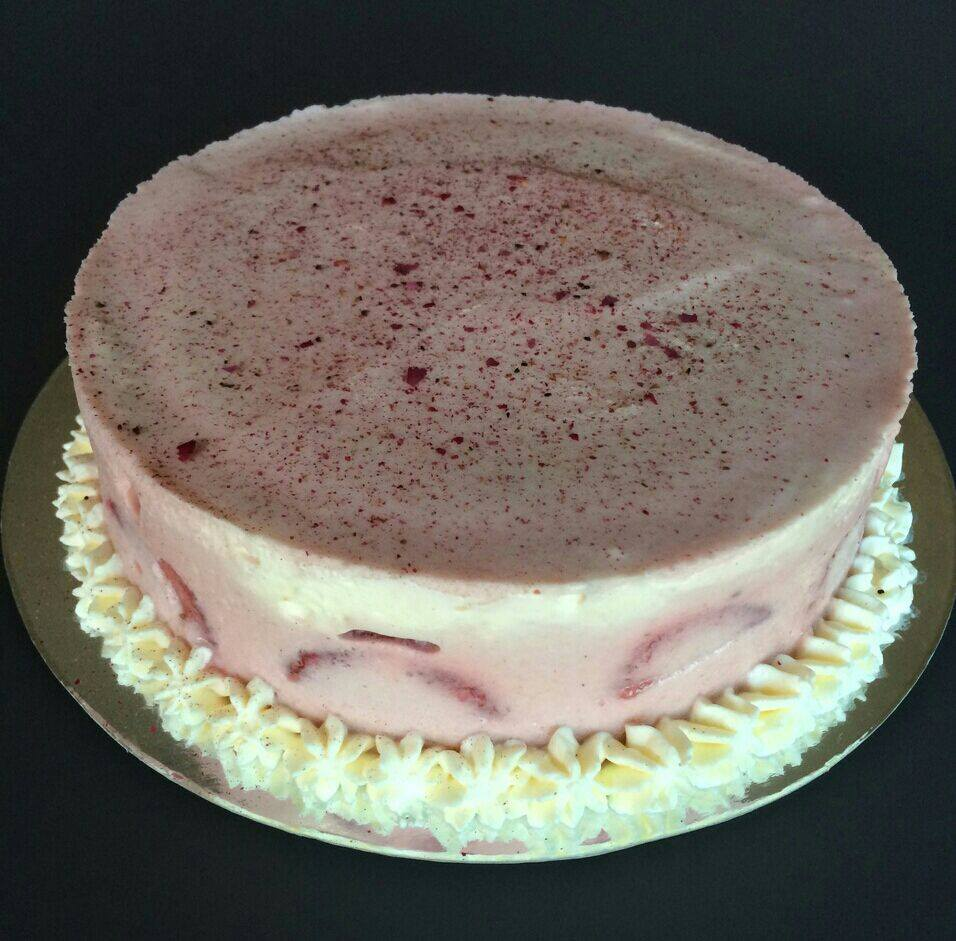Strawberry Mousse   Strawberry mousse cake with fresh strawberries and strawberry puree  $440  + 10% delivery  (7 in., white chocolate sign included)