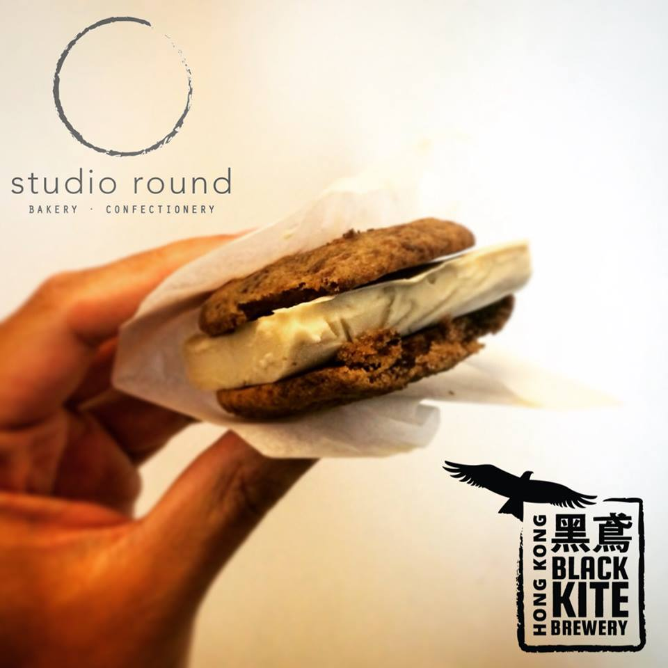 Beer Belly Ice Cream Sandwich (with  Black Kite Brewery )   An ice cream sandwich created with our signature Cinnamon Chocolate Chunkies and home-churned ice cream infused with Black Kite's Porter beer  Created for and sold at the Beertopia festival in October 2015