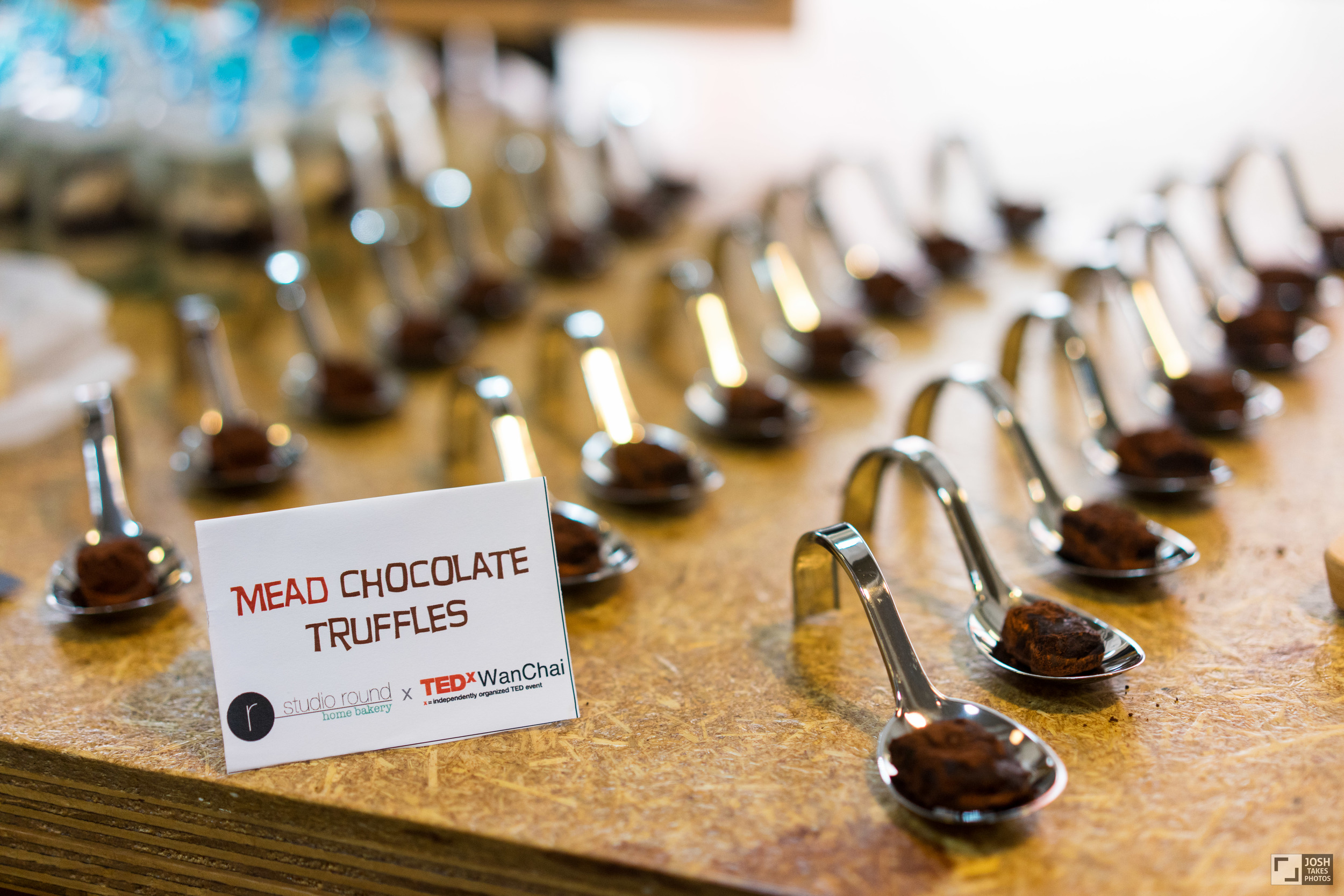 Mead Chocolate Truffles (with Intermiel Mead)   Decadent bite-size dark chocolate truffles infused with Intermiel Mead Rosee and dusted with cocoa powder  Featured at the TEDxWanChai Salon in March 2015