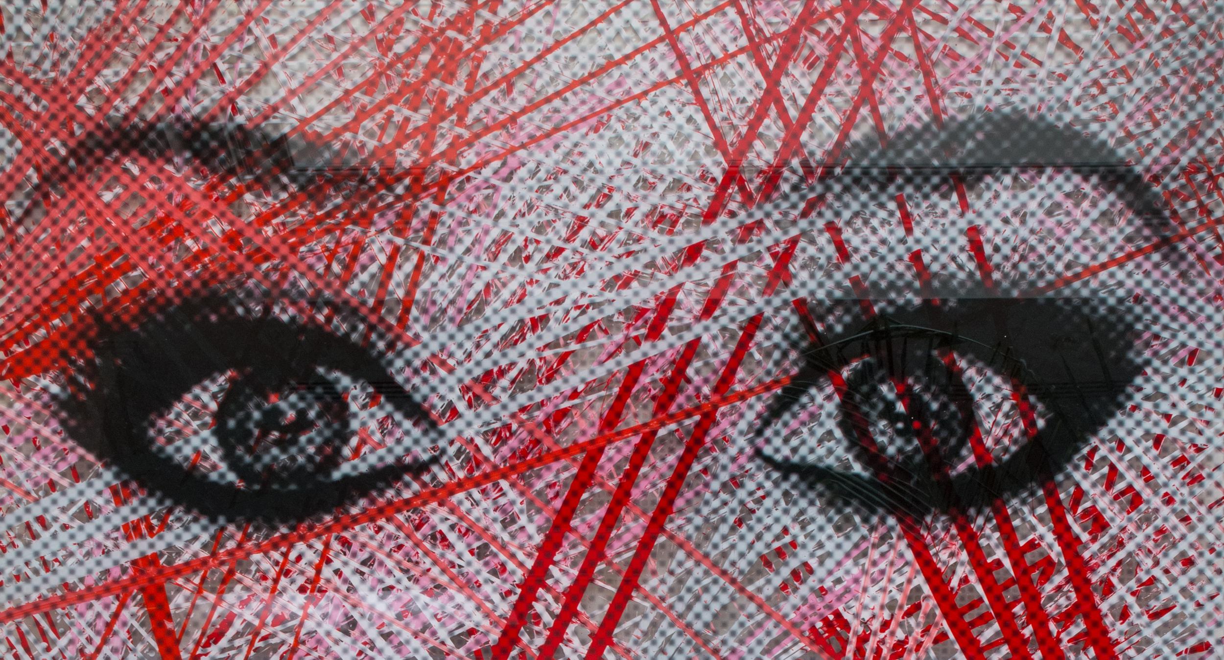 """Ojos Rojas   Acrylic & Print on Lucite, 27"""" x 48"""""""
