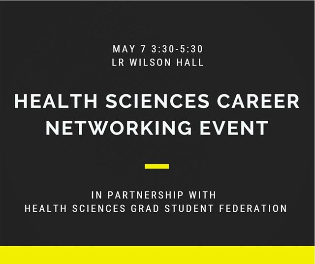 Join us on Tuesday May 7th for a conversational-style networking event to speak to health sciences experts working in academia, industry and government to learn about your career opportunities.  For more info/registration, go to: http://ow.ly/casv50tzMLJ