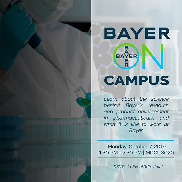 Are you interested in pharmaceuticals? 💊  Want to learn more about one of the largest pharmaceutical companies in the world? 🌎 #pharma #research  Mark your calendars as Bayer is coming to campus!  Learn about the science behind Bayer's research and product development in pharmaceuticals, Bayer's Open Innovation funding and partnering programs and what it is like to work at Bayer.  Open to EVERYONE! Designed for a general audience of science and non-science students (undergraduate and graduate), staff, as well as faculty.  Register now! Eventbrite link in the description.