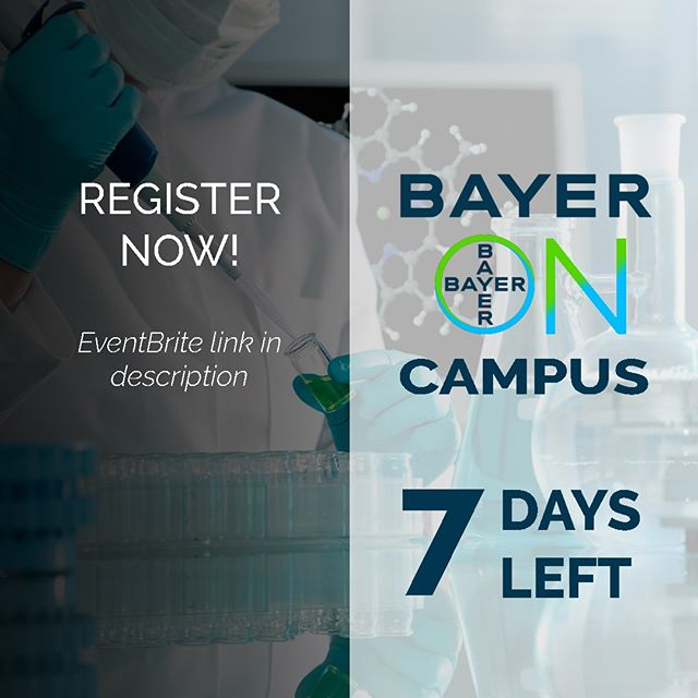 Only one week left to register for our Bayer on campus event. Don't miss out on this one of a kind opportunity. 🙌  Cover the innovation and science stories behind some of Bayer's products, present the company's partnering and funding programs, and present types of career opportunities to students plus tips for applicants on how to apply.  Seating is limited! Registration link in the description!  #pharma #mcmaster