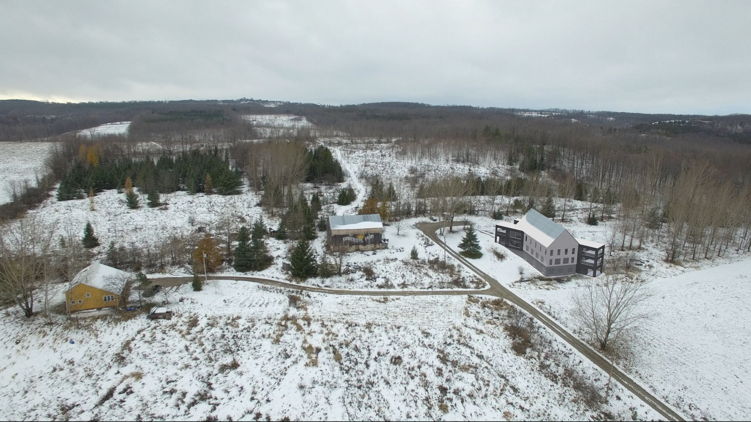 Kimbercote Accommodations Building - Aerial Photograph - 001 - With Existing Barn.jpg