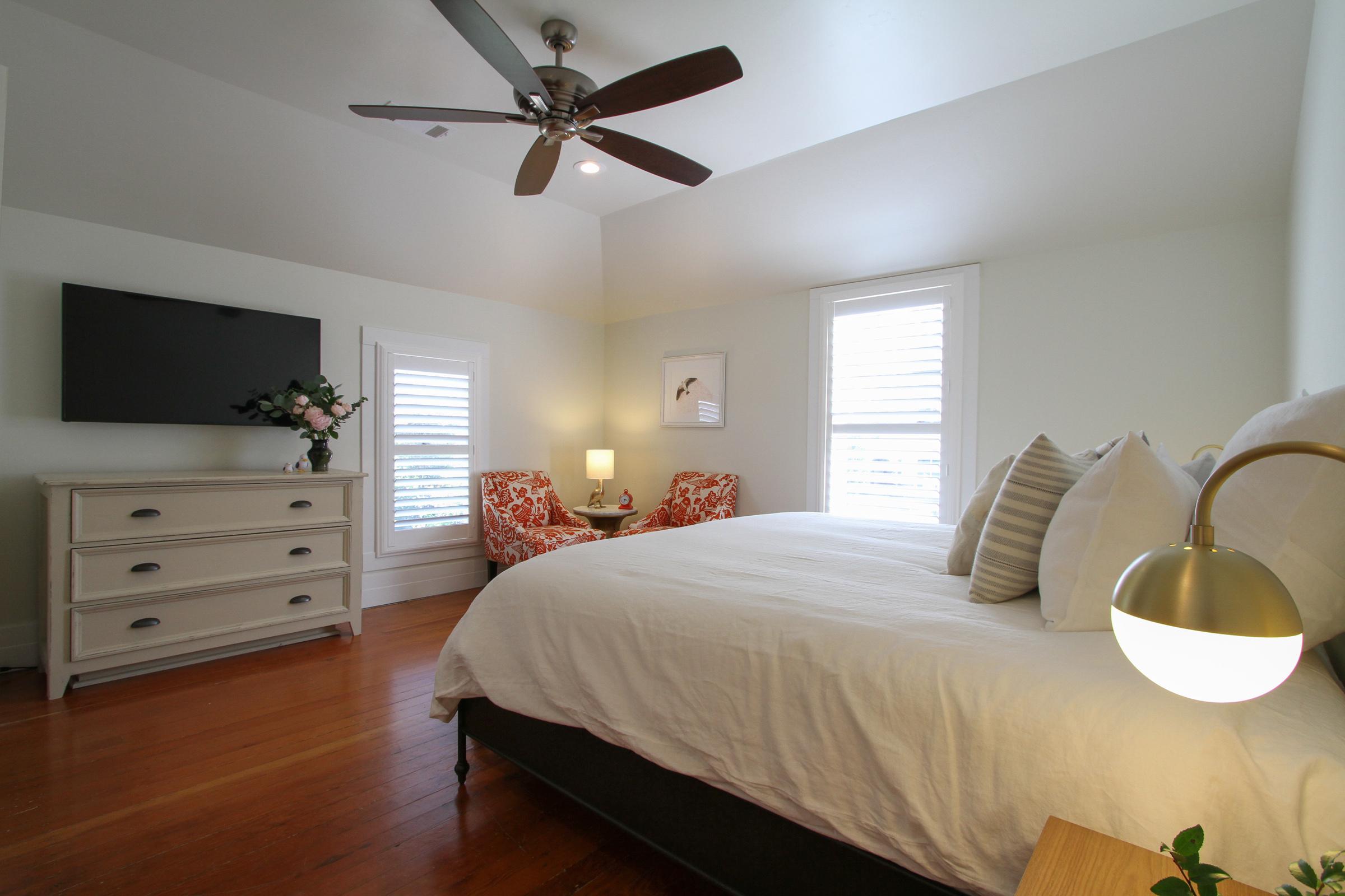 """Upstairs bedroom,king bed, ensuite bath, 50"""" TV."""