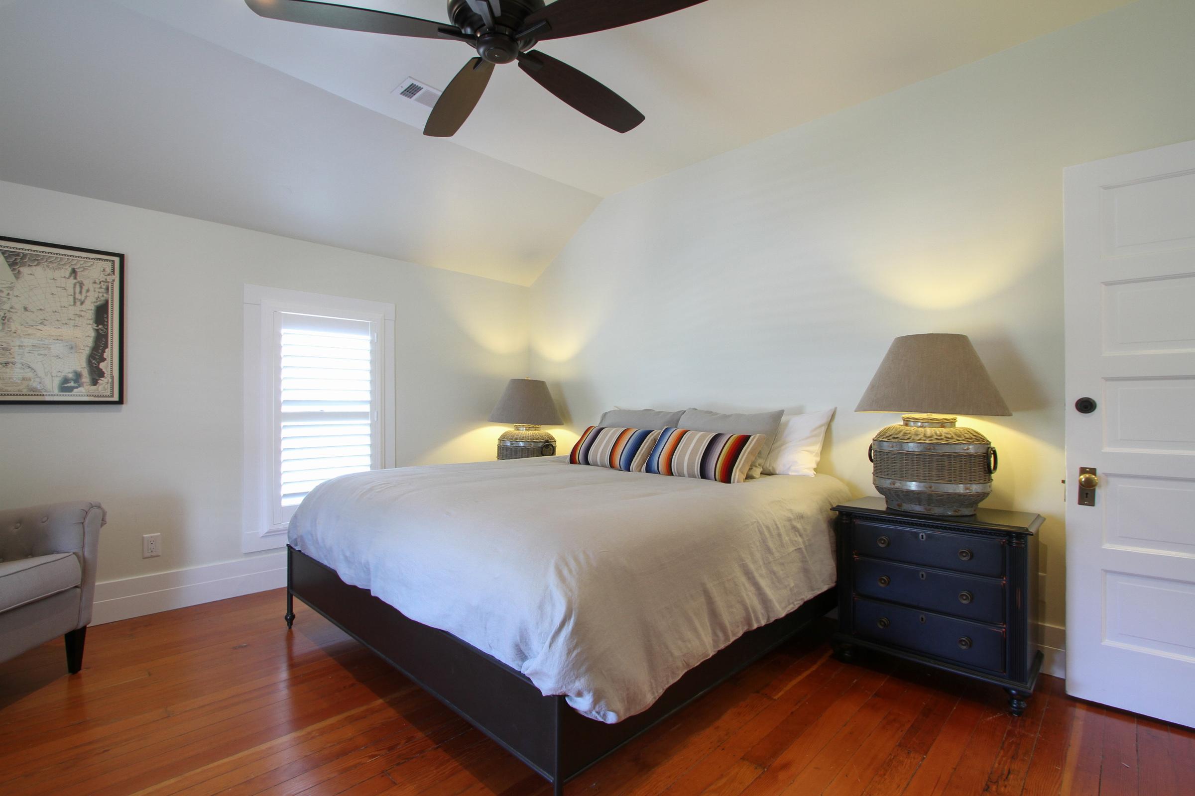 """Master bedroom, king bed, ensuite bath, 50"""" TV."""