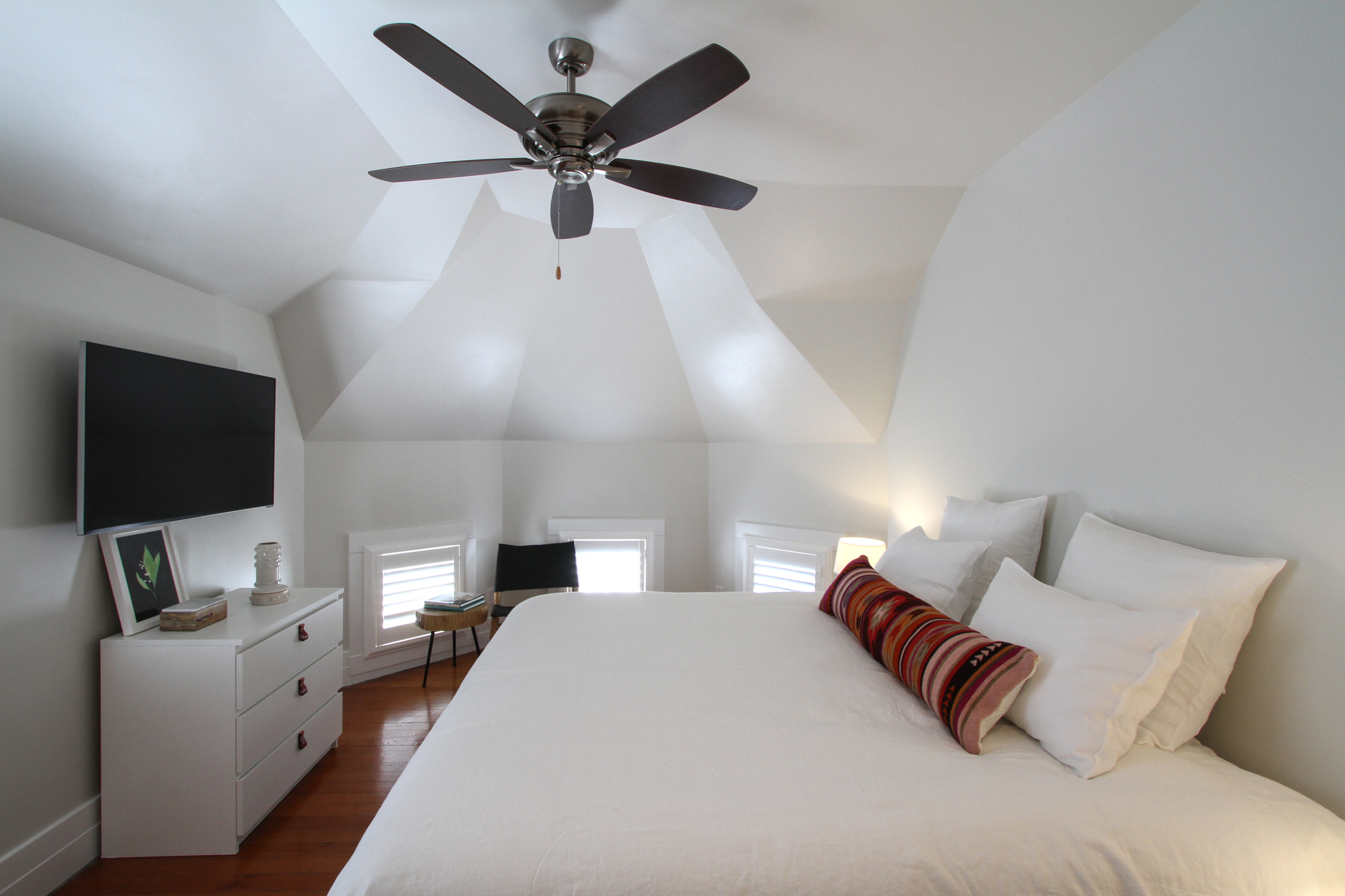 "Tower bedroom, king bed, 50"" TV."