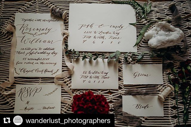 So glad to have been a part of this beautiful bohemian shoot put on by @wanderlust_photographers. All the 😍 for those macrame details!! **swoon** #styledshoot #lovelierwordscalligraphy . . . Tap for links to the other vendors included in this shoot!