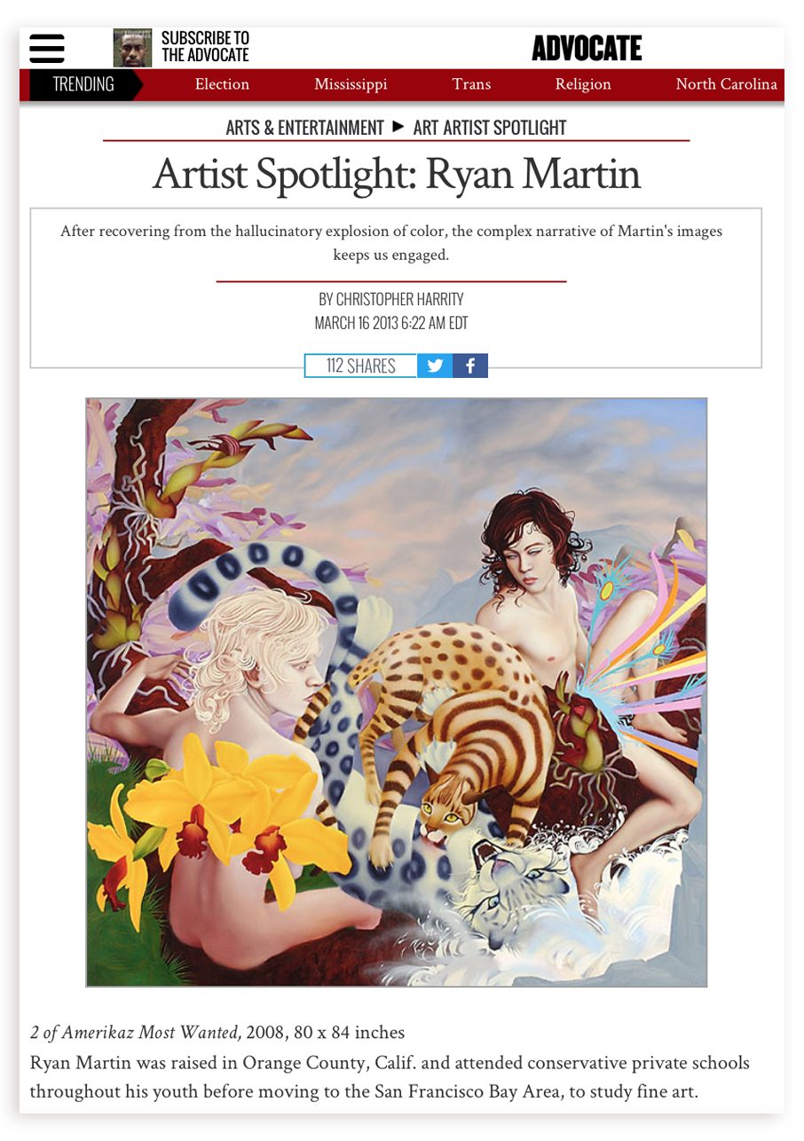 Oil paintings featured in   Artist Spotlight  by   Advocate  . Interview by Christopher Harrity.   Read the full interview