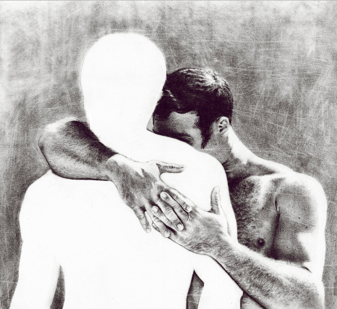Man embraces hugs cuddles another man ghost