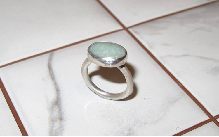 "It was a silver and amazonite ring, although simple and pretty it's fairly straight forward to make. I remember thinking ""man £3 for a stone is expensive!"""