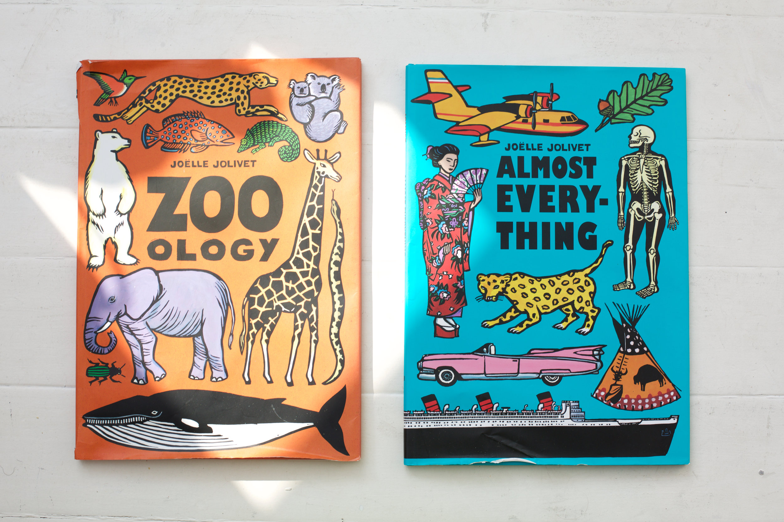 TWO OF OUR FAVOURITE BOOKS ,    ZOO OLOGY   &   ALMOST EVERYTHING   BY JOELLE JOLIVET...WE JUST CANT TAKE OUR EYES OFF THE FUN POP GRAPHICS IN HER BOOKS. THE SUPER SIZED SCALE ALSO MAKE THEM THE PERFECT SIZE FOR SHO TO HIDE BEHIND WHEN WE PLAY HIDE AND SEEK!...SO COOL!!!