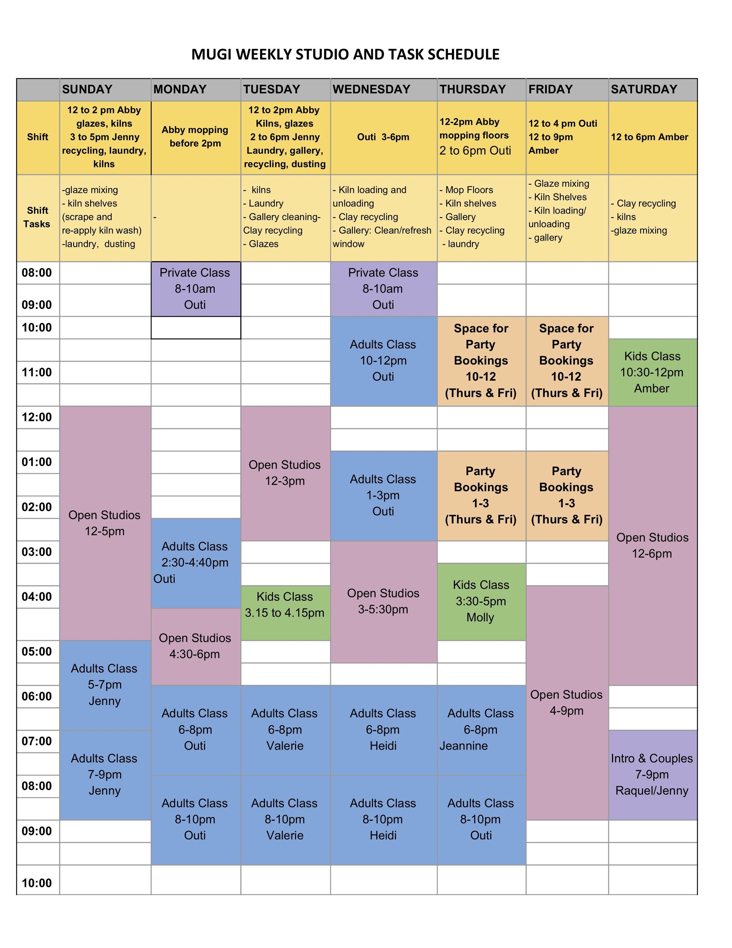 The following studio calendar was updated 10/17/2019