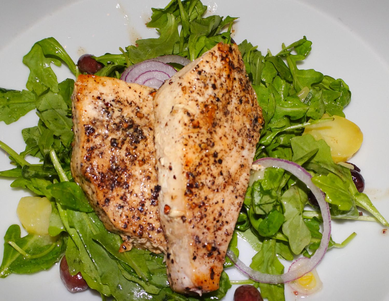 Swordfish Salad -- Main Course for Diner - NCL Gem  Photo: Calvin Wood