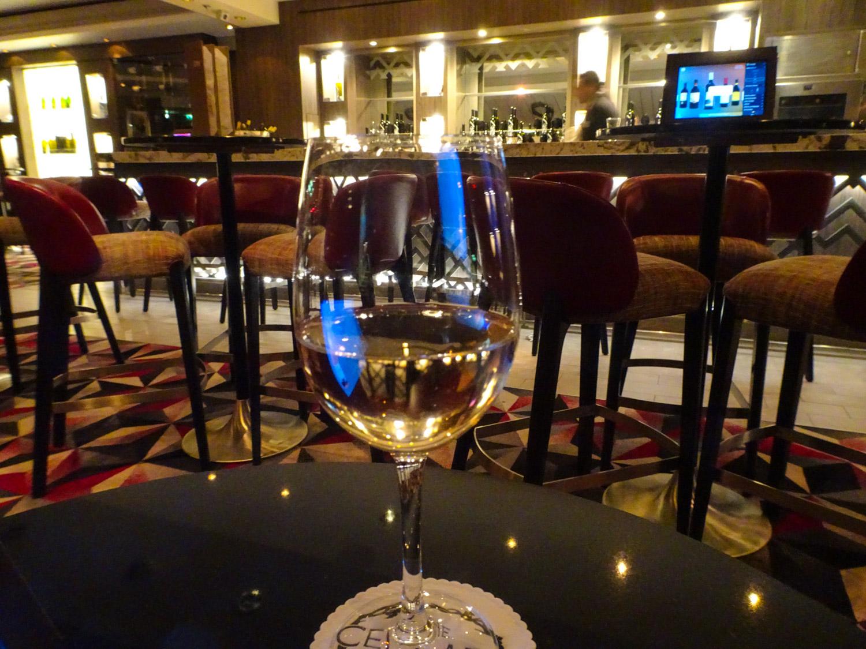 Sipping Chardonnay at Cellars - NCL Dawn  Photo: Calvin Wood