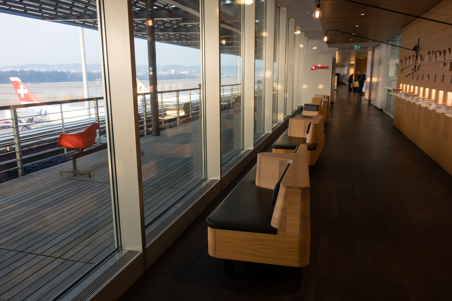 Window Seating - Swiss Senator Lounge Zurich   Photo: Calvin Wood