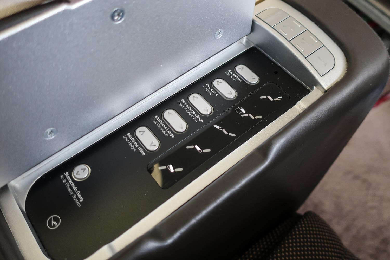 Seat Controls - LH First Class B747-800  Photo: Calvin Wood