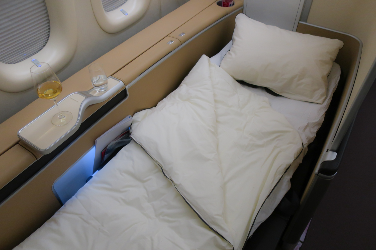 Seat in Bed Position - Lufthansa First Class  Photo: Calvin Wood