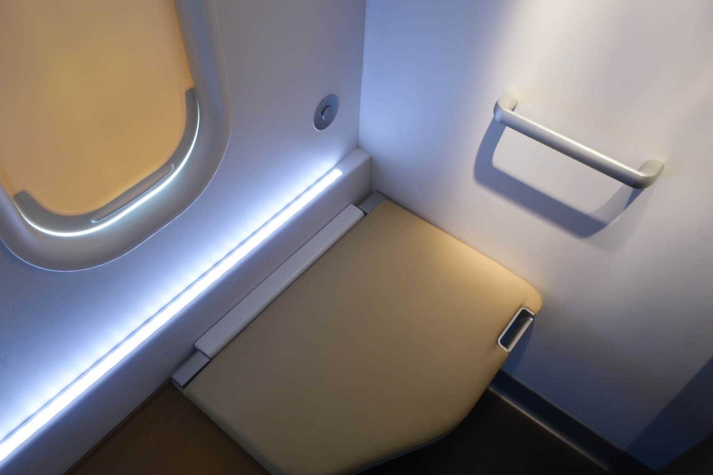 Bench - First Class Bathroom - Lufthansa  Photo: Calvin Wood