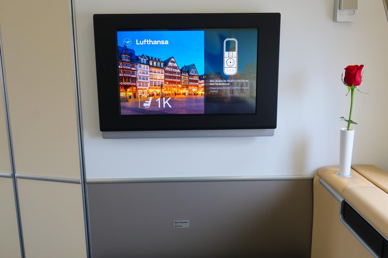 Video Screens - Lufthansa First Class  Photo: Calvin Wood