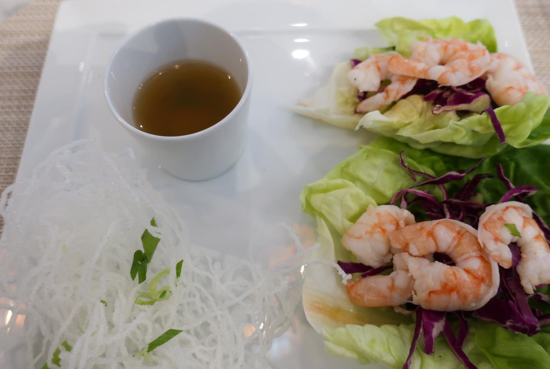 Lemongrass Shrimp - United Polaris Lounge  Photo: Calvin Wood