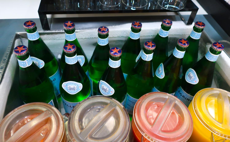Premium Bottle Water - Lufthansa Senator Lounge Newark  Photo: Calvin Wood