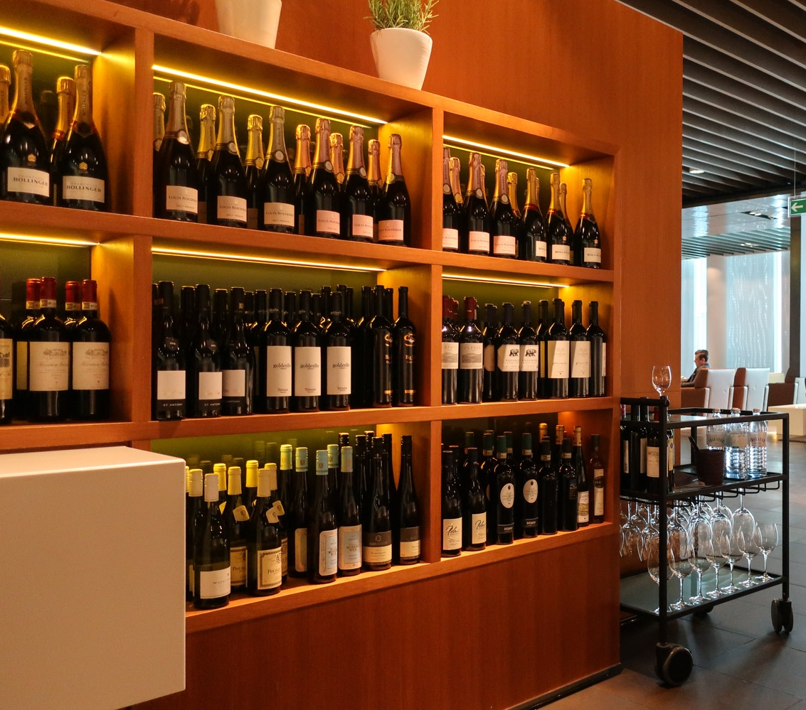 Wall of Wine & Champagne - Lufthansa's  First Class Terminal  - Frankfurt   Photo: Calvin Wood