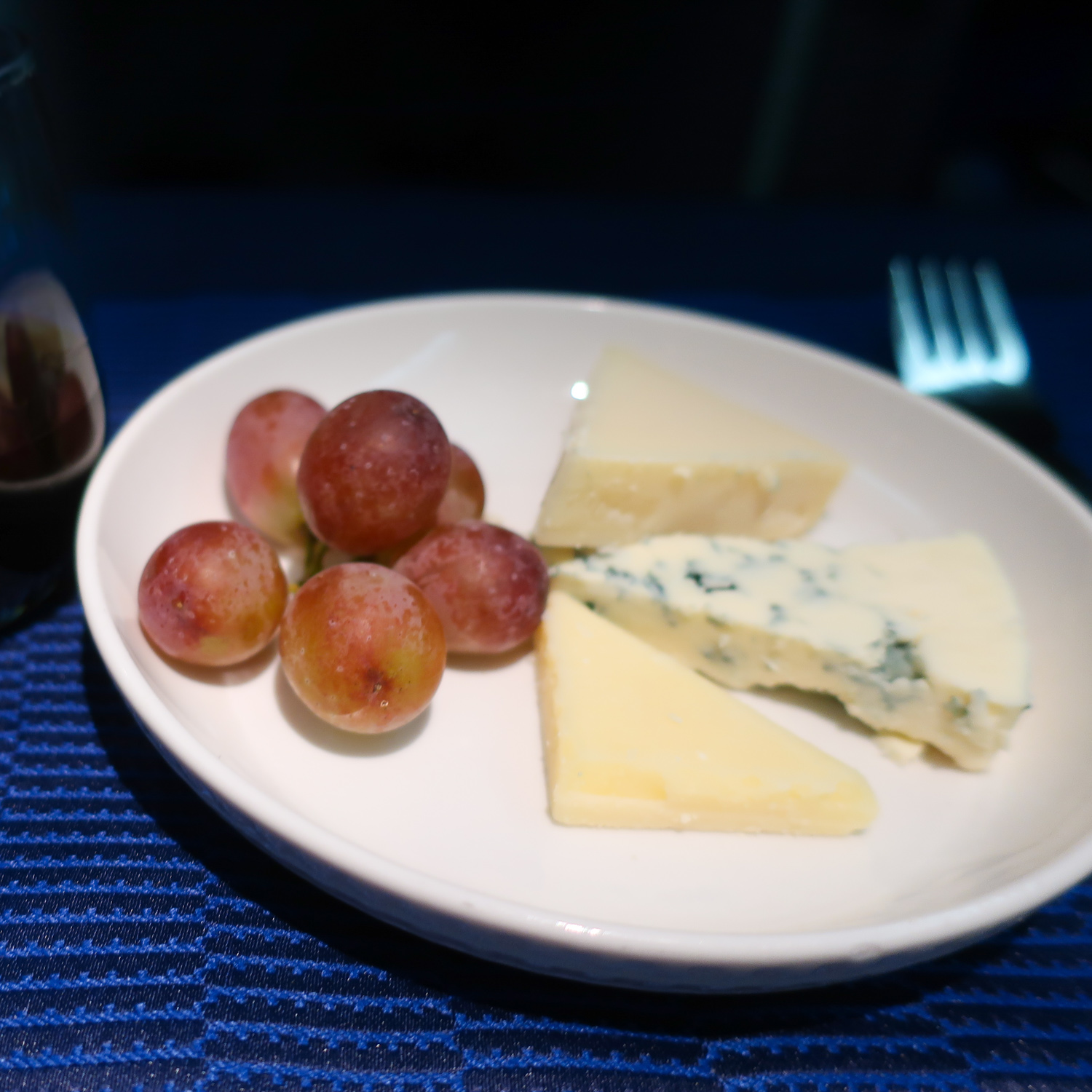 Cheese Plate & Port - United Airlines  Polaris Business Class   Photo: Calvin Wood