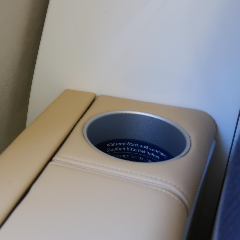 Water Bottle Holder - Lufthansa First Class - A340  Photo: Calvin Wood