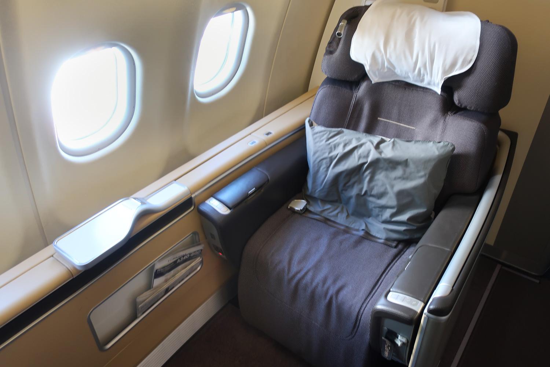 First Class Seat - Lufthansa A340 Frankfurt to Seoul  Photo: Calvin Wood
