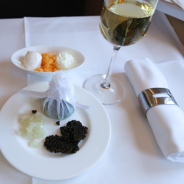 Caviar Course - Lufthansa First Class to Seoul  Photo: Calvin Wood