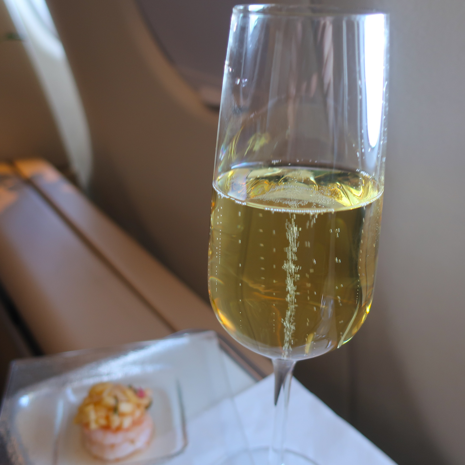 Champagne with the Amuse Lufthansa First Class  Photo: Calvin Wood