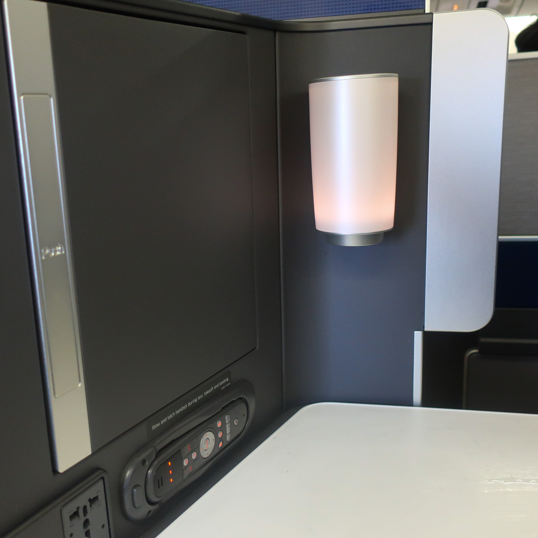 Side Table & Lamp - United Polaris Business Class  Photo: Calvin Wood